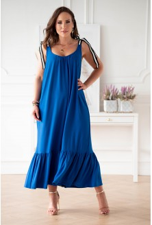 Chabrowa sukienka z falbaną xxl