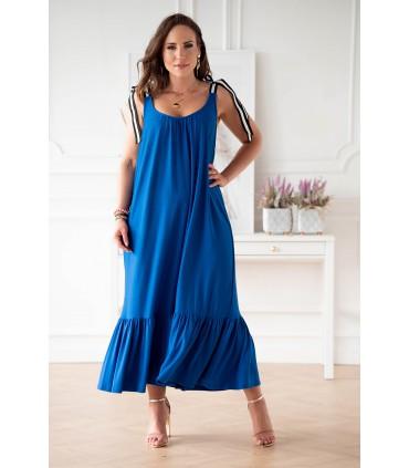 Chabrowa sukienka z falbaną i wiązaniem na ramiączkach - Daffi