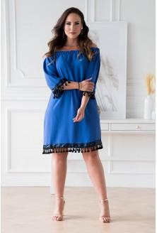 Chabrowa sukienka hiszpanka z ozdobnymi taśmami sklep XL-ka.pl