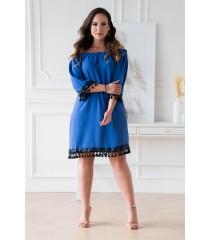 Chabrowa sukienka hiszpanka z ozdobnymi taśmami – MERCY