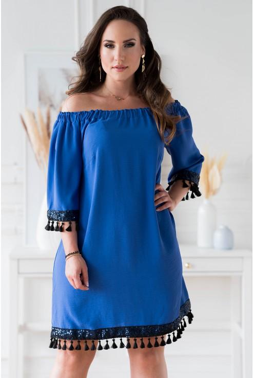 Chabrowa sukienka hiszpanka z ozdobnymi taśmami xl