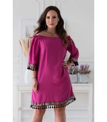 Amarantowa sukienka hiszpanka z ozdobnymi taśmami – MERCY