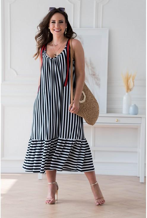 sukienka plus size w paski daffi