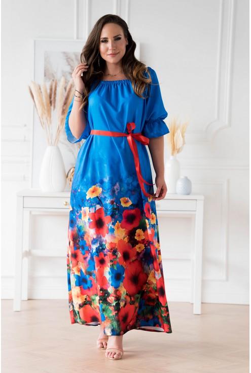 Chabrowa sukienka maxi z kwiatowym dołem