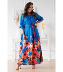 Chabrowa sukienka maxi z kwiatowym dołem - PANDORA