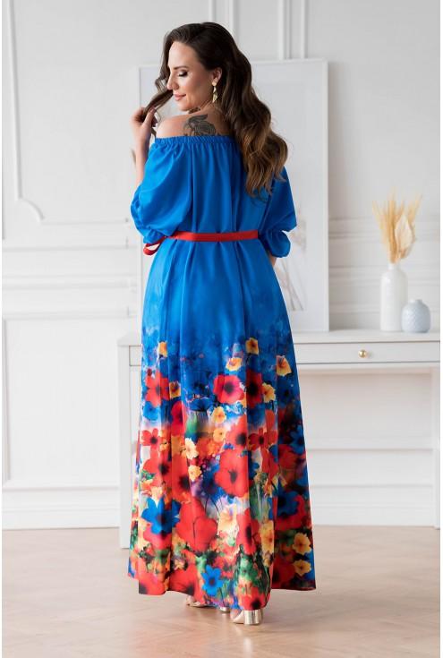 Tył chabrowej sukienki maxi z kwiatowym dołem - PANDORA