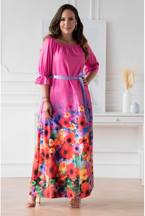 Różowa sukienka maxi z kwiatowym dołem - PANDORA