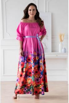 Różowa sukienka maxi z kwiatowym dołem - PANDORA xxl plus size