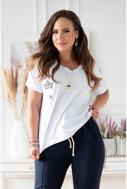 Biało-granatowy dresy plus size dla kobiet xxl