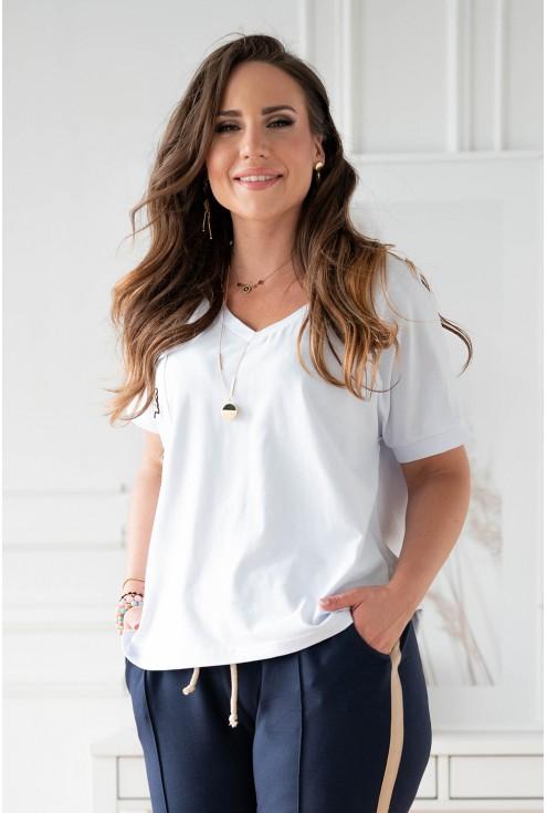 Dres plus size dla kobiet biało-granatowy