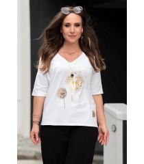 Biały t-shirt plus size z nadrukiem dmuchawca - Irina