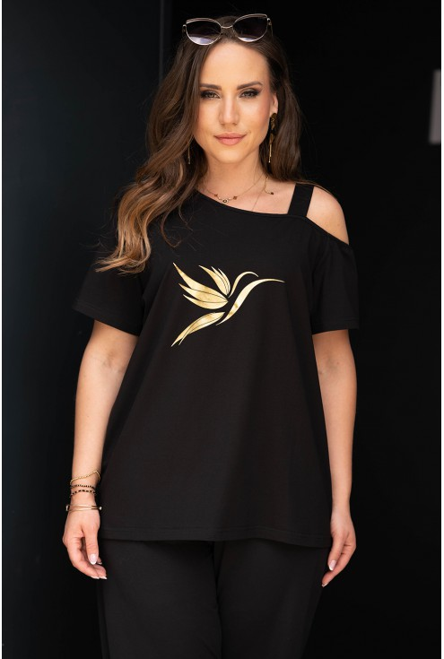 Czarna bluzka na ramiączko ze złotym kolibrem xxxl