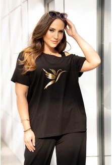 Czarna bluzka na ramiączko ze złotym nadrukiem xxl plus size