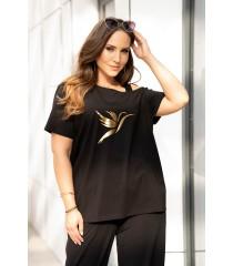 Czarna bluzka na ramiączko ze złotym kolibrem - Sheli