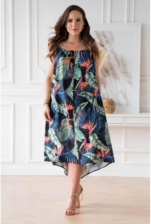 Czarna sukienka w liście na cienkich ramiączkach duże rozmiary dla kobiet XL-ka.pl