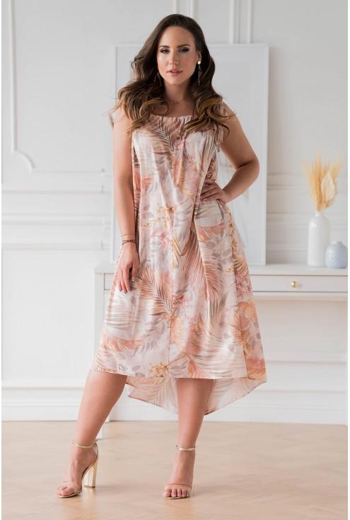 Beżowa sukienka w liście na cienkich ramiączkach xxl