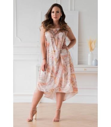 Beżowa sukienka w liście na cienkich ramiączkach - Merida