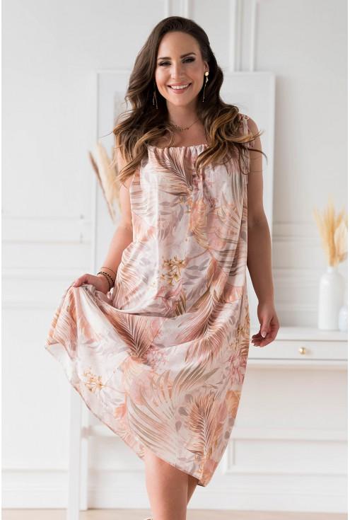 Beżowa sukienka w liście na cienkich ramiączkach w dużych rozmiarach dla kobiet