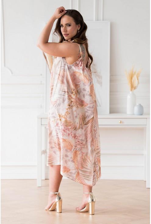 Beżowa sukienka w liście na ramiączkach w sklepie XL-ka