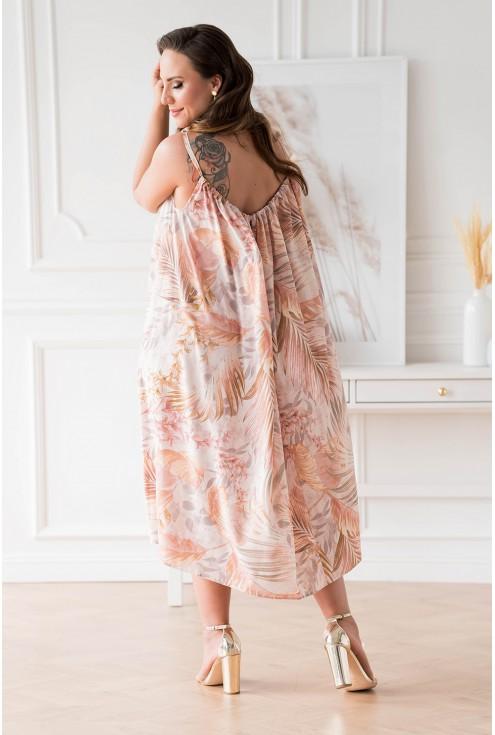 Tył beżowej sukienki w dużych rozmiarach w sklepie XL-ka.pl