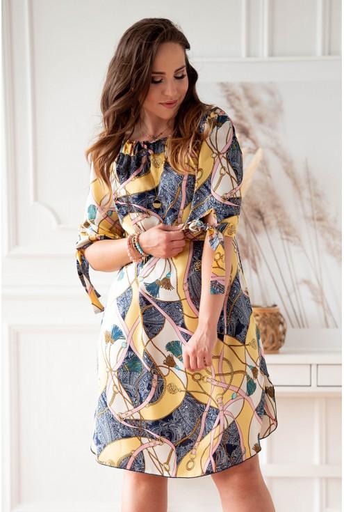 sukienka hiszpanka kremowo żółta w modny wzór plus size