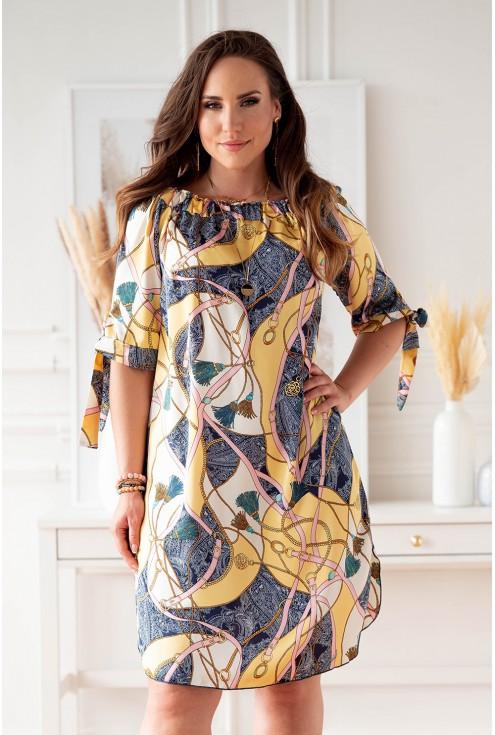 Kremowo-żółta sukienka hiszpanka w granatowo różowy wzór xxl