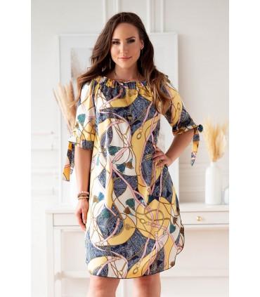 Kremowo-żółta sukienka hiszpanka w granatowo różowy wzór - MARITA