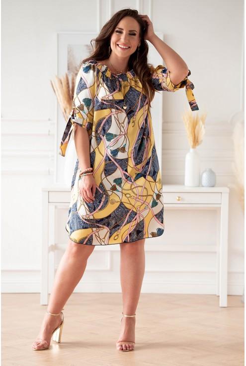 kremowo żółta sukienka hiszpanka w ładny wzór w dużych rozmiarach dla kobiet