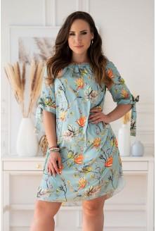 Seledynowa sukienka hiszpanka z kwiatowym wzorem xxl