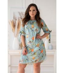 Seledynowa sukienka hiszpanka z kwiatowym wzorem - MARITA