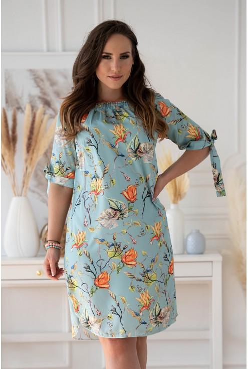 Seledynowa sukienka hiszpanka z kwiatowym wzorem w dużym rozmiarze XL-ka.pl