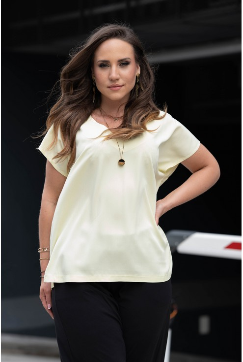 Cytrynowa bluzka oversize z dekoltem V xxl
