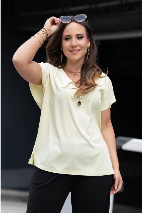 Cytrynowa bluzka oversize w dużych rozmiarach dla kobiet