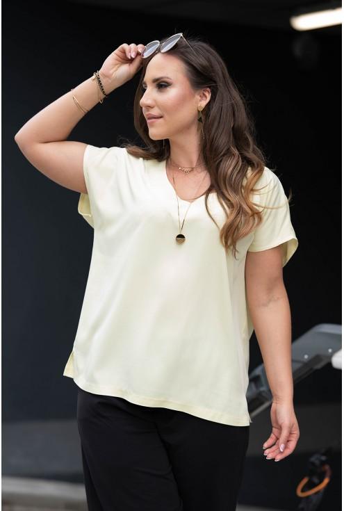 Wygodna bluzka oversize w cytrynowym kolorze duże rozmiary