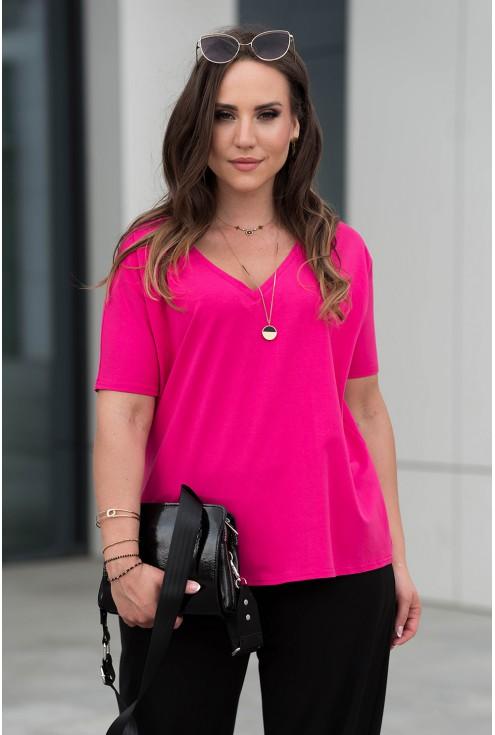 Różowa bluzka z obniżoną linią ramiona z dekoltem V plus size