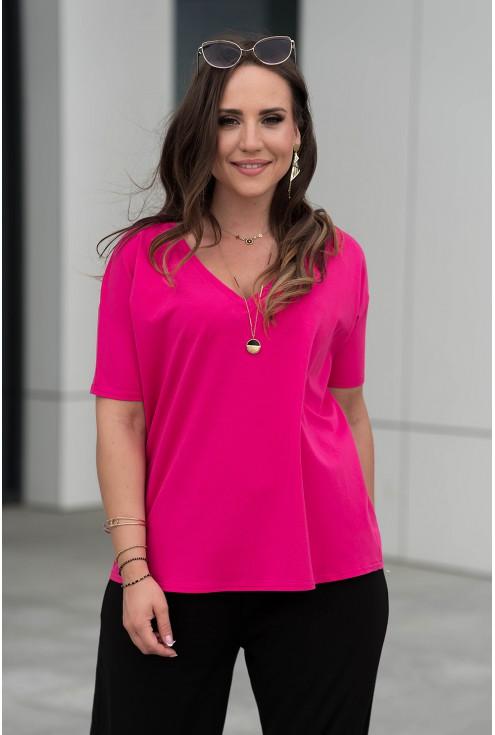 Różowa bluzka z obniżoną linią ramiona z dekoltem V xxl