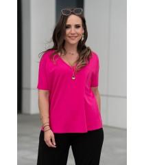 Różowa bluzka z obniżoną linią ramiona z dekoltem V - Montesa