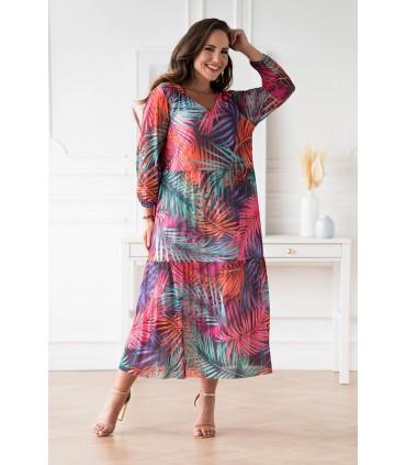 Fioletowa sukienka z siateczki w kolorowe liście - Sintia