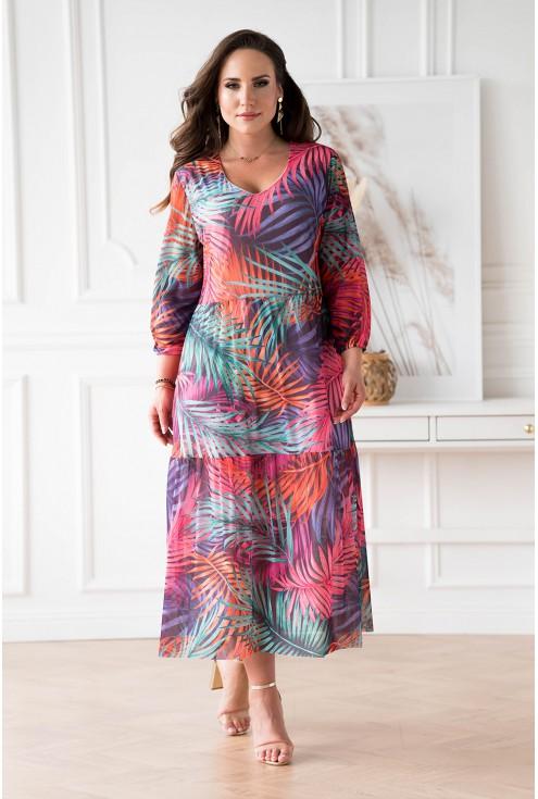 Fioletowa sukienka z siateczki w kolorowe liście xxl