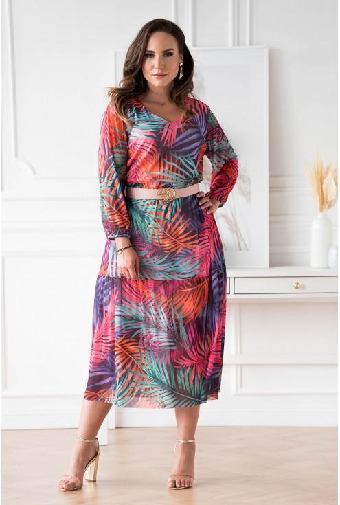 Fioletowa sukienka z siateczki w kolorowe liście plus size dla kobiet