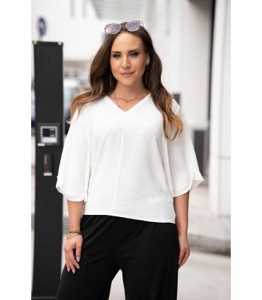 Kremowa bluzka plus size z szerokimi rękawkami - Lira
