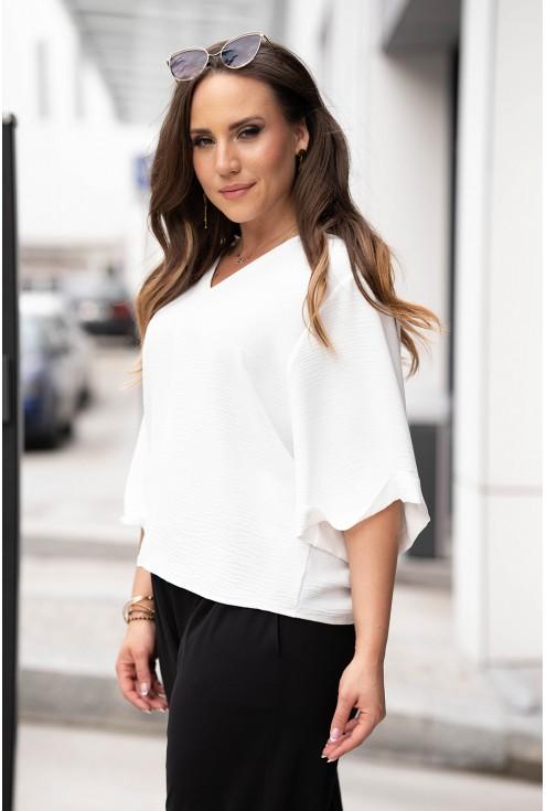 Kremowa bluzka z szerokimi rękawkami xxl