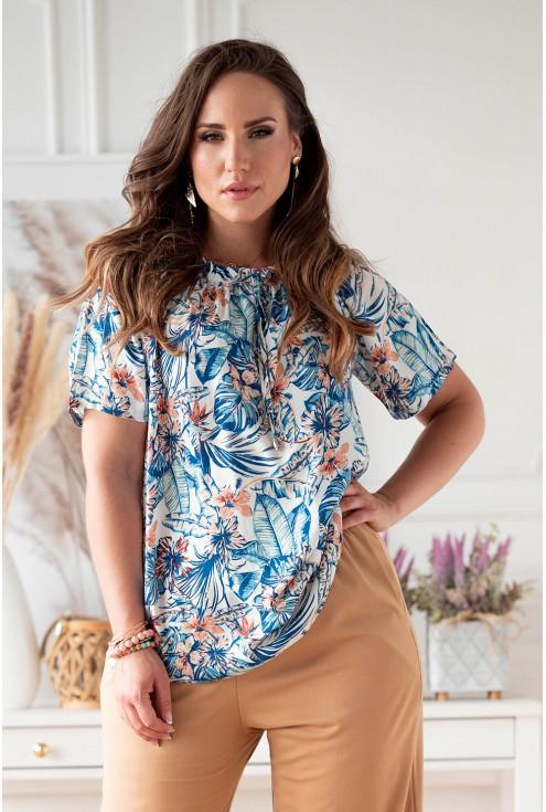 Kremowa bluzka hiszpanka z wzorem w kwiaty xxl