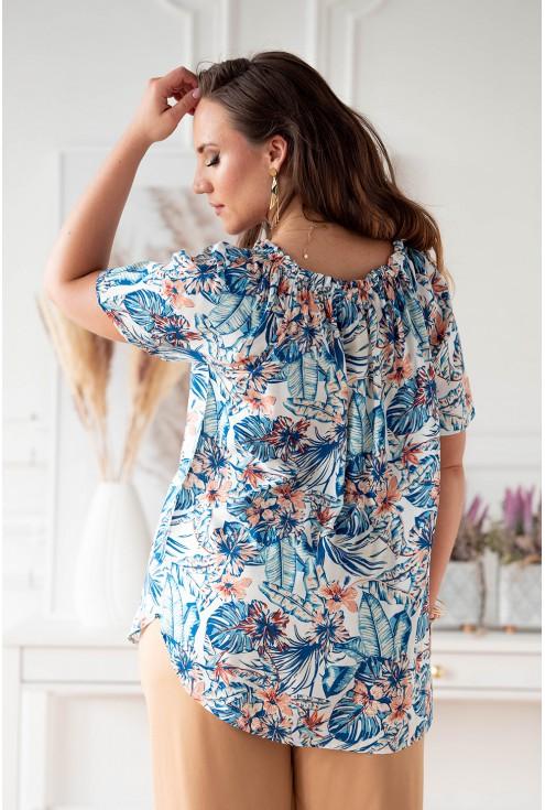 Kremowa bluzka hiszpanka z wzorem w kwiaty - Nolisa