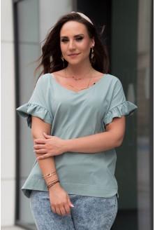 Niebieska bluzka z dekoltem V z falbaną na rękawach xxl