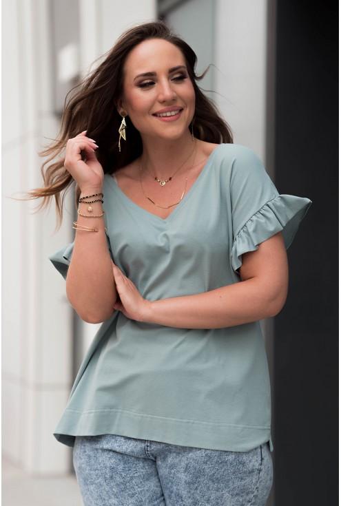 Niebieska bluzka z dekoltem V z falbaną na rękawach plus size dla kobiet