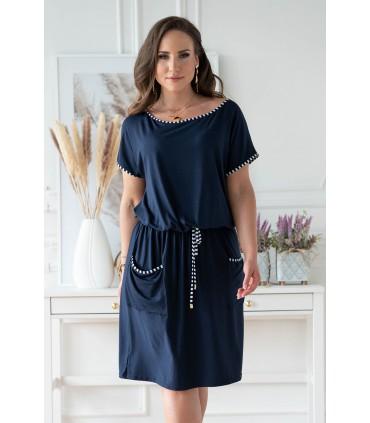 Granatowa sukienka plus size z kieszeniami - MARTHE