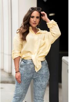 żółta muślinowa koszula plus size