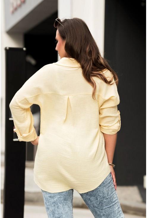 żółta koszula plus size muślinowa