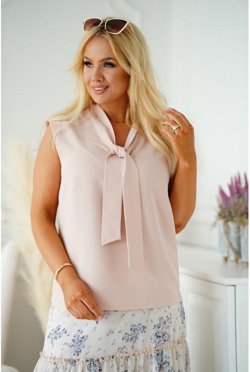 Beżowa szyfonowa bluzka plus size z wiązaniem na dekolcie - DEBBIE